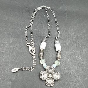 Vintage Barse Sterling Gemstone Dogwood Necklace